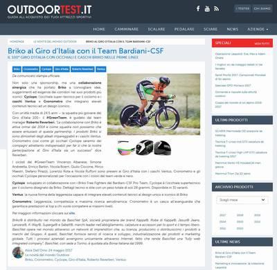 Briko al Giro d'Italia con il team Bardiani CSF (Briko Italy)