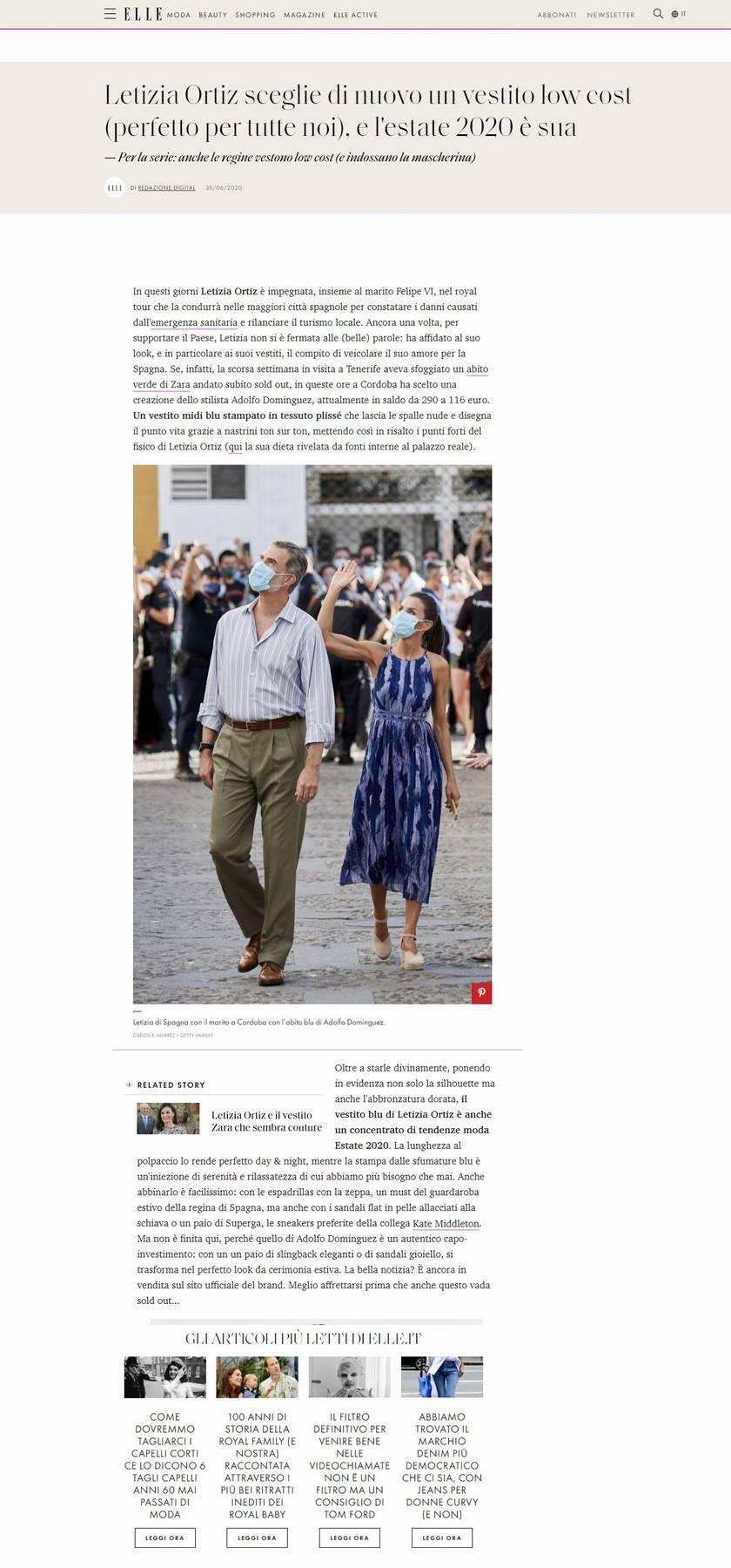 Letizia Ortiz con un abito da 20 euro di Zara è ancora